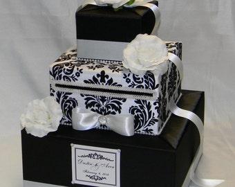 Elegant Black and White Damask Wedding Card Box-any colors