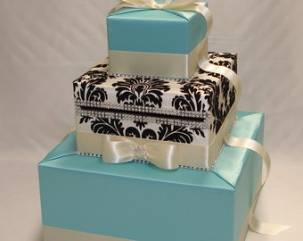 Elegant Custom made Wedding Card Box -Aqua-Ivory and black damask