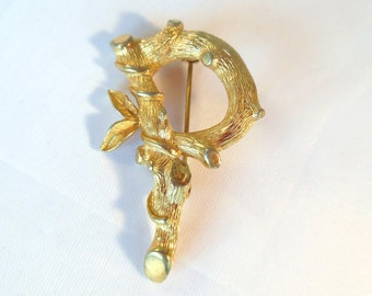 Vintage Sarah Coventry Brooch P Initial Branch 60's (170)