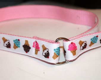 Ice Cream Cones Ribbon Belt Girls Velcro D Ring Belt Ice cream Velcro Belt Pink Ice Cream Belt Childrens Ice Cream Treat Belt Girls D ring