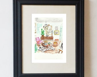 Holly Golightly's Apartment Design Watercolor Gouache Print 5x7
