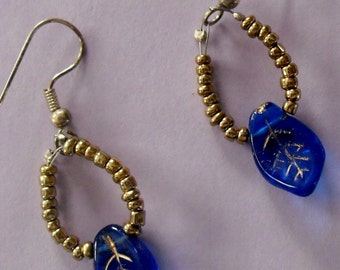 Gold Earrings with Blue Leaf