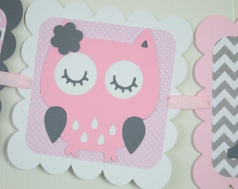 Owl It's a Girl Banner, Girl Banner, Pink Owl Banner, Owl Baby Shower, Owl Nursery, Owl Banner, Pink, Light Pink and Gray, Chevron