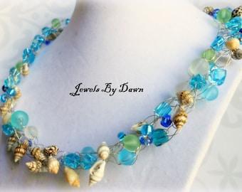seashell necklace, shell crochet jewelry, ocean inspired, wire crochet necklace, aqua, blue necklace