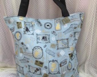 Shopping bag, shoulder bag  - music, handwriting, postcards, blue gold retro
