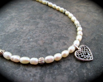 """Freshwater Pearl necklace featuring Dainty filigree heart charm 16 1/2"""" with 2 inch extender Wedding Jewelry Prom Jewelry Teen gift"""