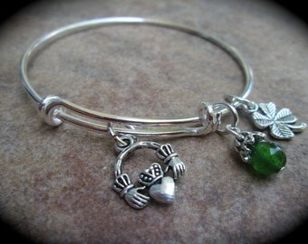 Irish Claddagh Adjustable wire bangle bracelet with four leaf clover charm Irish Theme Bracelet