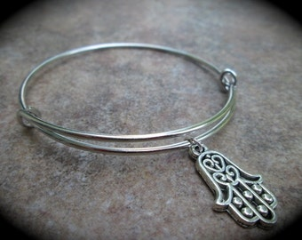 SPECIAL Hamsa Hand of God Hand of Lourdes Protection bracelet Adjustable Wire Bangle