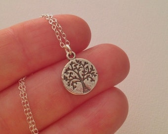 Tiny Tree of Life Necklace in Sterling Silver -Silver Tree of Life Necklace