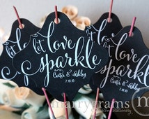 Let Love Sparkle Tags - Wedding Favor Tag Custom Names & Date Personalized Send Off Tags White Ink, Holders for Sparklers (Set of 150) SS07