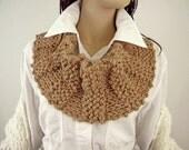 Knitted Cowl, Medium Tan, Acrylic Yarn, Scarf, Neckwarmer