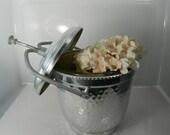 Vintage Ice Bucket Hammered Aluminum Ice Bucket Glass Lined,Vintage Bar, Elegant Ice Bin