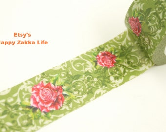 Japanese Washi Masking Tape - Red Flower with Green Deco Pattern - 20mm Wide - 11 yards