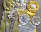 Vintage Equestrian Show Prize Rosette Ribbons - Lot of 6  White & Yellow Ribbons - Altered Art