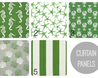 Coastal Green Curtain Panels. 25 or 50 Inch Widths. 63, 84, 96, 108, 120 Lengths. Beach Nautical Decor. Window Treatments. Drapery Curtains.