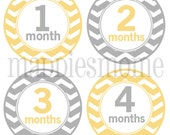 Monthly Baby Stickers, Milestone Stickers, Baby Month Stickers, Monthly Bodysuit Sticker, Monthly Stickers Yellow Gray (Neutral Chevron)