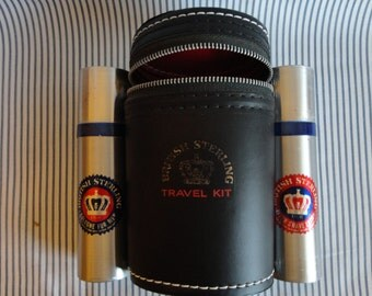 """Vintage """"British Sterling Travel Kit"""" Faux black leather zippered case complete with two Aluminum dispensers for Cologne & After Shave """"USA"""""""