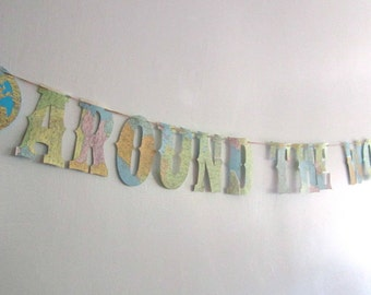 Around The World, Banner, Baby Shower, Map Banner, Map Theme, Travel Theme, Welcome to the World, Around the World Party, REAL VINTAGE MAPS