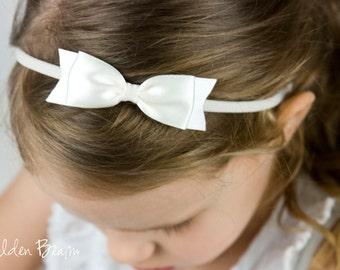 Ivory Classic Ribbon Bow Headband OR Clip -  Classic Bow -  Satin Ivory Bow Handmade Headband - Infant to Adult Headband