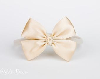 Champagne Baby Bows - Flower Girl Headband - Champagne Like a Butterfly Satin Bow Baby Handmade Headband - Baby to Adult Headband
