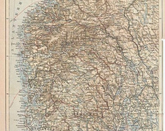 1911  South Norway Antique Map 115 Years Old Original Map
