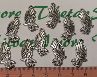 10 pcs per pack 26x12mm 3D Bold Eagle landing Charm Antique Silver Finish Lead Free Pewter