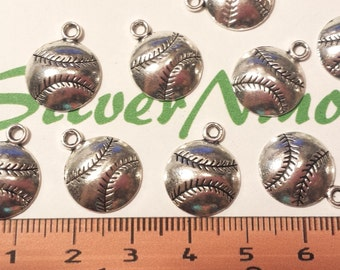 18 pcs per pack 14mm one side Softball Charm Antique Silver Lead free Pewter.
