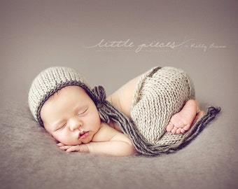 PDF Knitting Pattern (with crochet edging on hat) - newborn photography prop_James classic pant SET #30