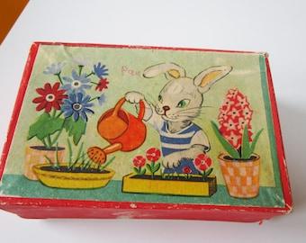 1960s Vintage Children's Wooden Picture Blocks Toy