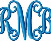 Custom Vine 3 Letter Monogram Embroidery Design