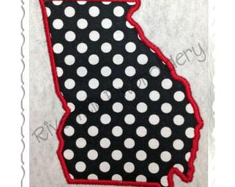 State of Georgia Applique Machine Embroidery Design - 4 Sizes