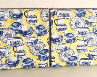 Yellow & Cobalt Blue Canvas Art, China Pattern, Set of 2