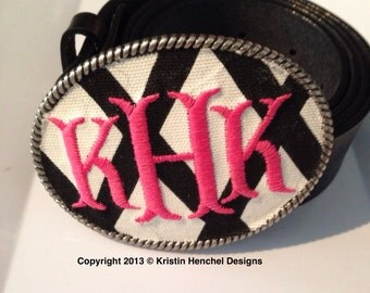 Kristin Henchel custom women's monogram belt buckle - fish tale monogram
