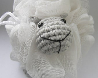 crochet PATTERN - sheep bath set - PDF instructions