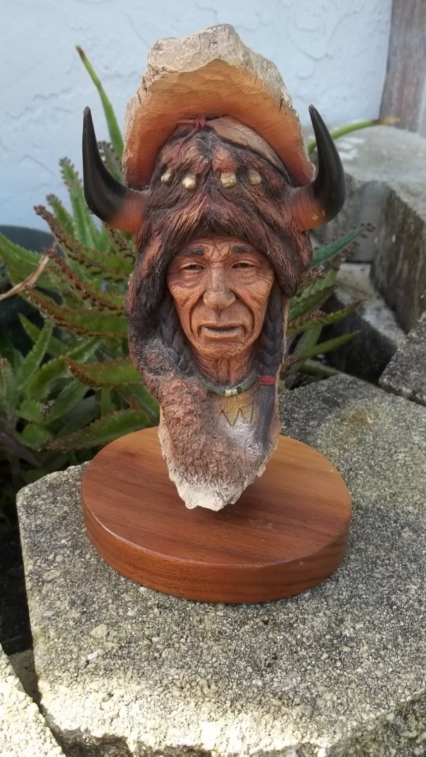 Vintage Neil J Rose Native American Indian Sculpture Bust