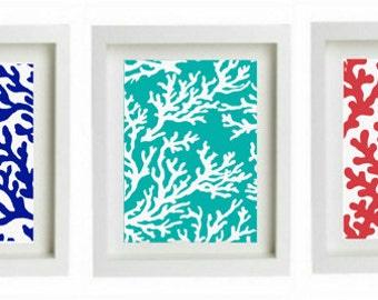 Colorful Coral Reef Beach Art Prints, Beach house wall decor, beach artwork, coral prints,