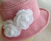 Crochet Baby Hat, Child Hat, Child Hat with Flower, Baby Girl Hat, Little Girl Hat, Hat with Roses, Pink Hat, Little LadyHat