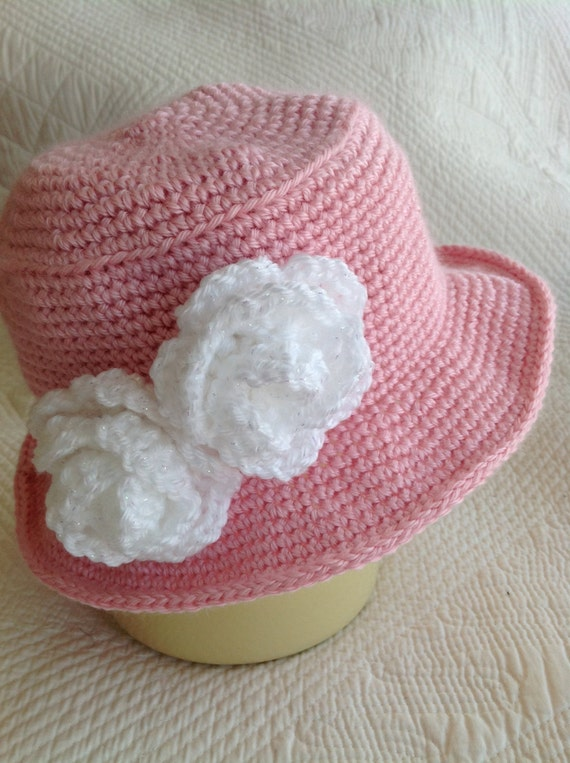 Crochet Baby Hat, Child Hat, Child Hat with Flower, Baby Girl Hat, Little Girl Hat, Hat with Roses, Pink Hat, Little LadyHat