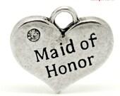 "4 pcs 16mm Antique Silver Rhinestone ""Maid of Honor"" Love Heart Charm Pendants"