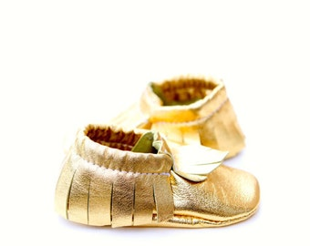 Ready to ship**Gold Metallic Leather Baby Moccasins