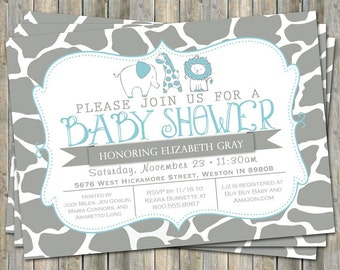 Safari Animals invitation, typography baby shower invitation, blue and gray, digital, printable file