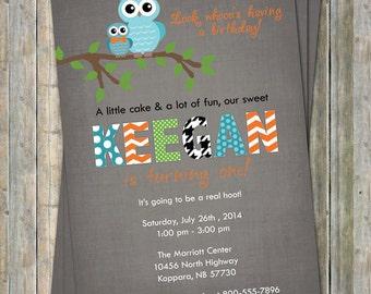 Owl birthday party invitation, Multiple Patterns, Orange, Gray, Black, Teal digital, printable file
