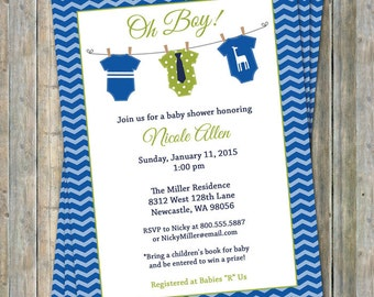 Onesie Baby shower Invitation, oh boy, blue and green, Digital, Printable file