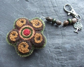 Recycled Eco Felt Hand Embroidered Flower Bag Charm, Flower Purse Charm, Flower Keychain, Flower Accessories, Embroidered Accessories