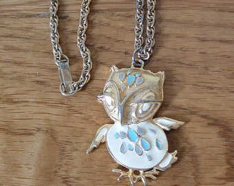 Vintage Enamel Owl Necklace Owl Pendant Cream Blue Gold Tone Owl Necklace