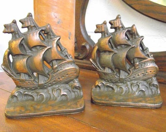 Galleon Pirate Ship Bookends Cast Iron Bronzed