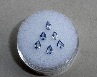 6 Tanzanite pear gems 4x3mm each