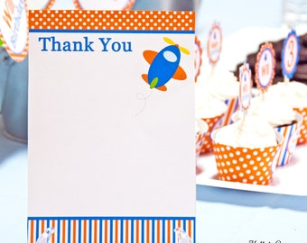 Airplane Birthday Party Thank You Notes (5 x 7), Instant Download, Printable, Digital