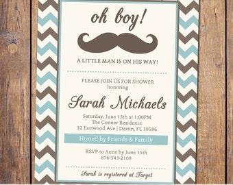 Boys baby shower invitation, modern, chevron, blue and brown, little man baby shower, digital, printable file (item127)