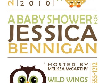 Birth Announcement Print MOD OWL Baby includes your custom personalization